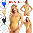 Women One-piece Sleeveless High Cut Holographic Bodysuit Rave Baywatch Swimsuits