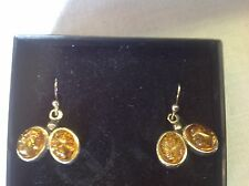 """Quality Sterling Silver brown honey Amber double oval drop dangle earrings 1"""""""