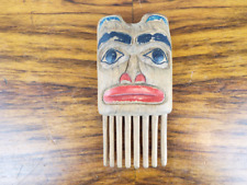 Vintage Wooden Tlingit Comb Pacific North West Art Carving Signed R Cladiente