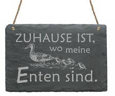 Schild Schiefertafel - Zuhause ist wo meine Enten sind - Dekotafel 22 x 16 cm