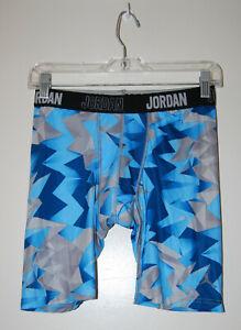 NWT Air Jordan Boy's Blue & Gray Geometric Performance Compression Underwear XL