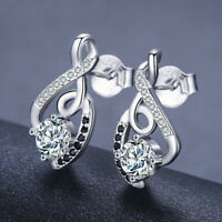 Pretty Stud Earrings for Women 925 Silver Jewelry White Sapphire A Pair/set