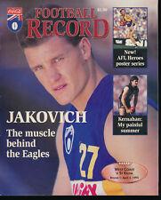 1995 AFL Football Record West Coast Eagles v St Kilda Saints April 2 unmarked