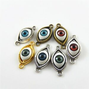 Wholesale 18pcs/lot Colorful Alloy Jewelry Charms Mixed Color Evil Eye Pendants