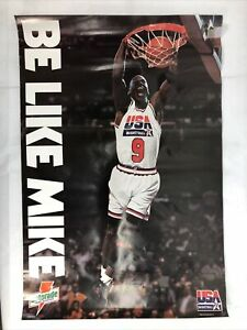 "1992 Michael Jordan ""Be Like Mike"" Gatorade 25X17 Poster NBA Licensed Team USA"