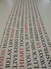 Decorative Table Runner -White - Words of Home and Love  150cm x 35cm