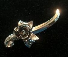 Stunning Silvery Sword & Rose Brooch, HTF Vintage Coro Jewelry