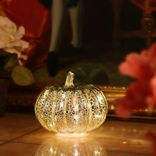 Glass LED Silver Pumpkin Halloween Thanksgiving Holiday Decoration With Timer