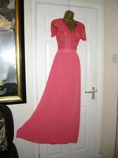 14 TALL CLUB L BRIGHT CORAL SCALLOP LACE CHIFFON MAXI DRESS 20'S 30'S BRIDESMAID