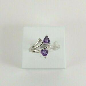 9ct Gold Diamond Amethyst Ring Band White Eternity NEW Hallmarked Size N
