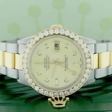 Rolex Datejust 2-Tone Gold/Steel 36mm Oyster Watch w/Diamond Dial & 2.80Ct Bezel