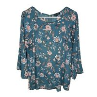Papermoon Top Floral Scoop Neck Long Sleeve Boho Tunic Blouse Size XL