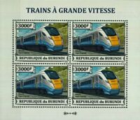 Hitachi Class 800 Super InterCity Express Train Stamp Sheet (2013 Burundi)