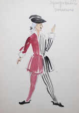Vintage watercolor drawing theatre costume design signed