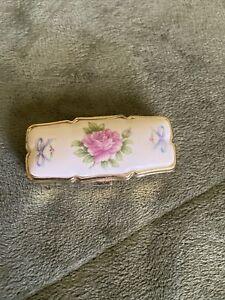Antique Lefton Pill Box  Flowers Japan White Floral Porcelain