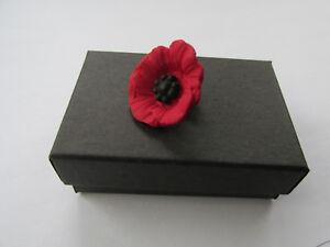 Handmade Unusual Fimo Red & Black Poppies Flower Brooch Lapel Pin - Gift Box