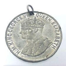 Antique 1939 H. M. King George VI Queen Elizabeth Old Cadbury Metal Medal G639