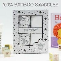 Baby Newborn Pure Bamboo Muslin Swaddle Blankets Swaddling Wrap Squares 2 Pack