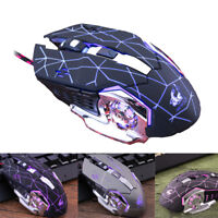 Optical Ergonomic 4000 DPI LED Light Wired USB Gamings Mouse Gamer Metal Plate