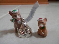 1998 Hallmark Merry Miniatures Figurines Set of 2 Mice Hershey's Nib Series 2