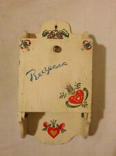 Vintage PRIMITIVE HAND PAINTED WOOD Recipe box Kitchen Wall Mount Floral