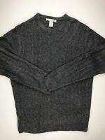 Geoffrey Beene Cable Knit Sweater L Gray Long Sleeve Crew Neck Acrylic Heather