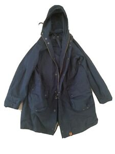 Engineered Garments x Barbour Cotton Fishtail Parka, Navy Blue, S