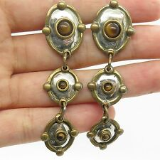 Vtg Luis L Booth 925 Sterling Silver Real Tiger Eye Gemstone Dangling Earrings