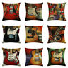 Vintage Guitar Throw Pillow Case Linen Chair Waist and Seat Square Cover Cushion