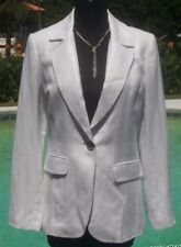 Cache White Metallic Linen Blend Coat Jacket Top New Size Sz S/M Lined $178 NWT