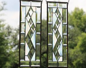"""Stained Glass Window Pair  24 1/2""""x 8 1/2""""each -Ready to Hang"""