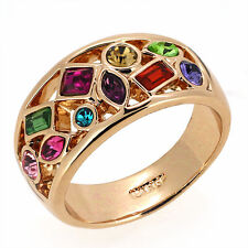 Vintage Amethyst Ruby Blue Emerald Topaz Multi-Gemstone Rose Gold  Ring  8
