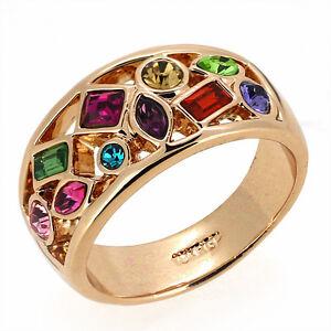 18K Rose Gold GF Multi-Gemstone Amethyst Emerald Ruby 8ct Engagement Ring 7