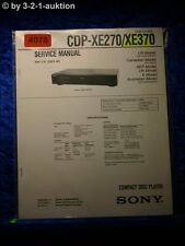 Sony Service Manual CDP XE270 /XE370 CD Player  (#4078)
