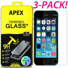 3PCS Film Real Premium Tempered Glass Screen Protector for iPhone 5S 5C SE
