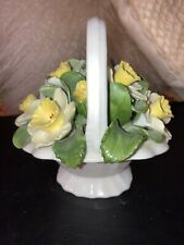 Vintage  Aynsley England Bone China DAFFODILS Flower Basket  Figurine