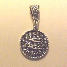 pendentif argenté médaille argenté zodiaque gémeaux diamètre 20 mm