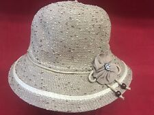 Brown Burlap-like Polyester Women's Brim Hat