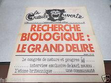 LA GUEULE OUVERTE N° 130 3 novembre 1976  Couverture RECHERCHE BIOLOGIQUE *