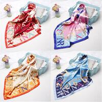 "Women's Square Hijab Scarf Fashion Letter Print Soft Satin Shawl Scarves 35""*35"""
