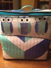 Twin XL Bedding Set Quilt Shams Dec. Pillow Owls Blue Teal