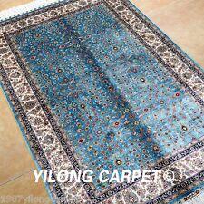 Yilong 3'x4.5' Blue Handmade Silk Area Rugs Decorative Flowers Carpets Qum 0047