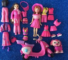 Polly Pocket Lot Of 2 Dolls Pink Clothing + Moped