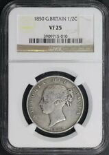 1850 Great Britain Silver 1/2 Crown NGC VF-25 Low Mintage