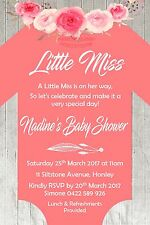 Girl Boy Romper Outfit Baby Shower Floral Bow Tie Timber Invite Invitation Party