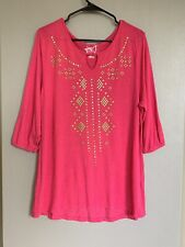 22274490 JMS Plus Womens Shirt Top 1X 16W Size Short Sleeve Solid Pink Stretchy