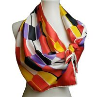Vintage oblong scarf bright mod geometric pattern red yellow white purple black