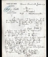 """CLERMONT-FERRAND (63) TISSUS en gros & BONNETERIE """"PONT & LABBE Succ"""" en 1919"""