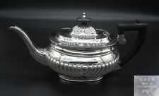 VINTAGE SHEFFIELD EHP TEAPOT WATER JUG HALF FLUTED EBONIZED HANDLE SILVER PLATED