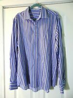Bugatchi Uomo Mens XL Blue White Color Striped Shaped Fit Button Up Shirt $150